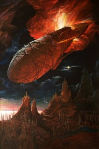 Flaming airship 1999 70,7x47 inches- 180x120sm oil on canvas