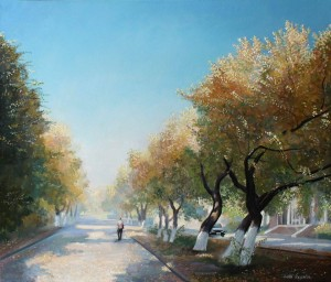 Alley at the Palace of miners 2014. 29,9x20,1 oil, canvas