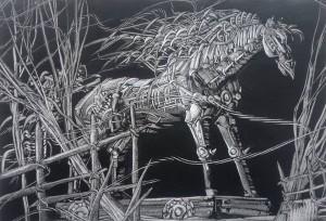 Horse 2013 8,3x12,2, paper, begaligrafiya