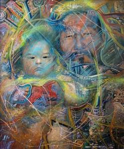 Отцы и дети 2003г. 60x50 см. х.м.