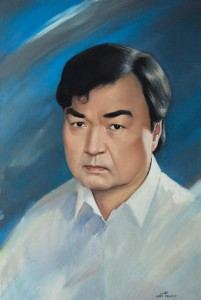 Portrait of  Olzhas Suleimenov (Famous poet, Kazakhstan politician, and Soviet anti-nuclear activist) 2011  29.9х20 in., oil on canvas