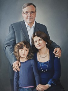 Portrait of  Frank Pannier with his family 2011, 31.4х23.6, oil on canvas